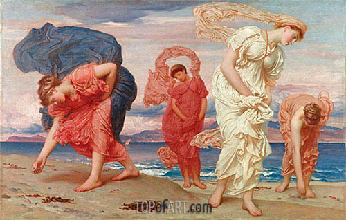 Greek Girls Picking up Pebbles by the Sea, 1871 | Frederick Leighton| Painting Reproduction