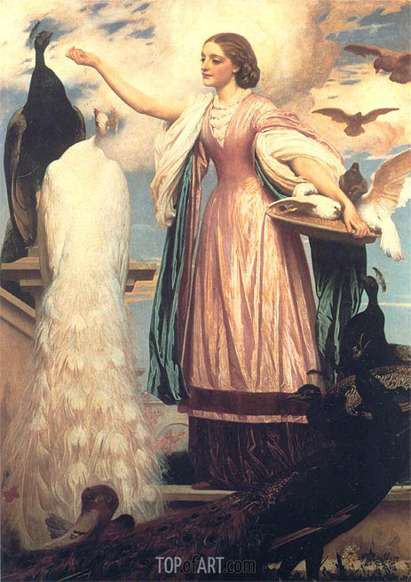 A Girl Feeding Peacocks, c.1862/63 | Frederick Leighton | Gemälde Reproduktion