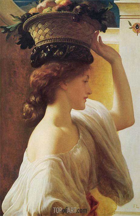 Frederick Leighton | Eucharis - A Girl with a Basket of Fruit, c.1863