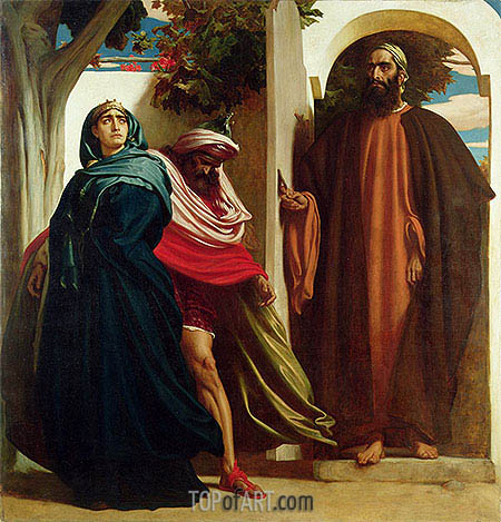 Jezebel and Ahab Met by Elijah, c.1862/63 | Frederick Leighton | Painting Reproduction
