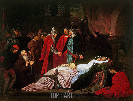 The Reconciliation of the Montagues and the Capulets over the Dead Bodies of Romeo and Juliet, undated | Frederick Leighton| Painting Reproduction