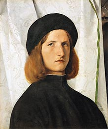 Young Man before a White Curtain, c.1506/08 von Lorenzo Lotto | Gemälde-Reproduktion