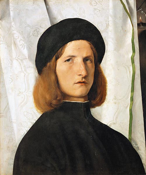 Lorenzo Lotto | Young Man before a White Curtain, c.1506/08