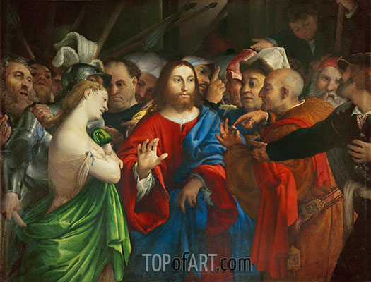 The Woman Taken in Adultery, c.1527/29 | Lorenzo Lotto | Painting Reproduction