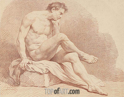 Seated Male Nude, undated | Lagrenee| Painting Reproduction