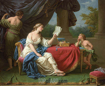 Penelope Reading a Letter from Odysseus, undated | Lagrenee| Painting Reproduction