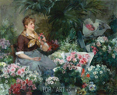 The Flower Seller, 1887 | Louis Marie de Schryver | Gemälde Reproduktion
