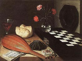 Still-life with Chessboard (The Five Senses), 1630 by Lubin Baugin | Painting Reproduction