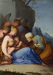 The Holy Family with Saints and Angels, a.1642 by Lubin Baugin | Painting Reproduction