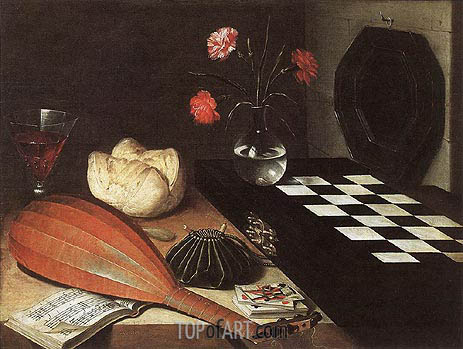 Still-life with Chessboard (The Five Senses), 1630 | Lubin Baugin| Painting Reproduction