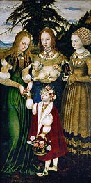 Saint Dorothy Receiving Roses from a Young Boy (St. Catherine Altarpiece - Left Panel), 1506 von Lucas Cranach | Gemälde-Reproduktion