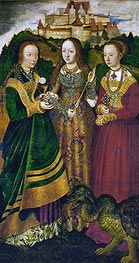 Saint Barbara with Chalice and Host, Saint Ursula with Arrow and Saint Margaret with the Dragon (St. Catherine Altarpiece - Right Panel), 1506 by Lucas Cranach | Painting Reproduction