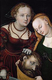 Judith with the Head of Holofernes and a Servant, c.1537 by Lucas Cranach | Painting Reproduction