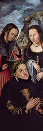 Frederick the Wise with St Ursula and St Genevieve, c.1510/12 von Lucas Cranach   Gemälde-Reproduktion