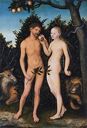 Adam and Eve in Paradise (The Fall), 1531 by Lucas Cranach | Painting Reproduction