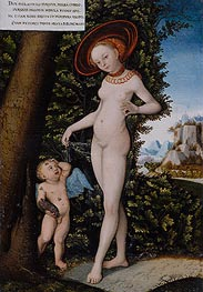 Venus with Cupid the Honey Thief, undated by Lucas Cranach | Painting Reproduction