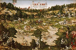 A Hunt in Honor of Carlos V at Torgau Castle, 1544 by Lucas Cranach | Painting Reproduction