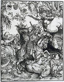 St. George Slaying the Dragon, c.1510/15 von Lucas Cranach | Gemälde-Reproduktion