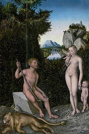 A Faun and His Family with a Slain Lion, c.1526 by Lucas Cranach | Painting Reproduction