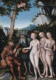 Judgment of Paris, 1530 von Lucas Cranach | Gemälde-Reproduktion