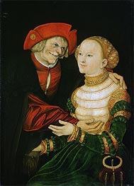 The Ill-Matched Couple, 1522 von Lucas Cranach | Gemälde-Reproduktion