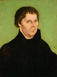 Portrait of Martin Luther, 1525 von Lucas Cranach | Gemälde-Reproduktion