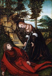 Pyramus and Thisbe, c.1515/20 by Lucas Cranach | Painting Reproduction