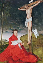 Cardinal Albrecht of Brandenburg Kneeling before Christ on the Cross, c.1520/29 by Lucas Cranach | Painting Reproduction