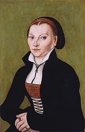 Portait of Katharina von Bora, undated by Lucas Cranach | Painting Reproduction