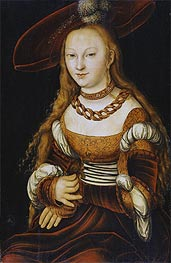 Portrait of a Young Lady, c.1350 by Lucas Cranach | Painting Reproduction