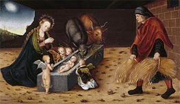 The Nativity with Adoring Child Angels, undated by Lucas Cranach | Painting Reproduction