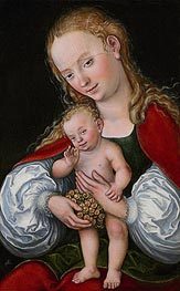 Madonna and Child with Grapes, c.1537 by Lucas Cranach | Painting Reproduction