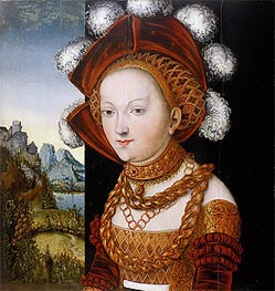 A Finely Dressed Young Lady, c.1530 by Lucas Cranach | Painting Reproduction
