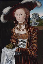 Portrait of a Young Lady Holding Grapes and Apples , 1528 by Lucas Cranach | Painting Reproduction