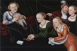 Old Man Beguiled by Courtesans, undated by Lucas Cranach | Painting Reproduction