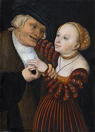 An Old Man with a Girl | Lucas Cranach | Painting Reproduction