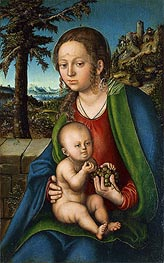 The Virgin with Child with a Bunch Grapes, c.1510 by Lucas Cranach | Painting Reproduction