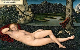 The Nymph at the Fountain, c.1530/34 by Lucas Cranach | Painting Reproduction