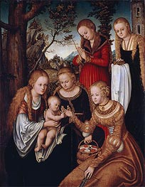 (Marriage of St Catherine) The Virgin and Child with Sts Catherine, Dorothy, Margaret and Barbara | Lucas Cranach | Gemälde Reproduktion
