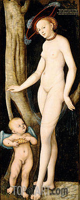 Venus and Cupid Stealing Honey, 1531 | Lucas Cranach| Gemälde Reproduktion