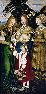 Lucas Cranach | Saint Dorothy Receiving Roses from a Young Boy (St. Catherine Altarpiece - Left Panel), 1506