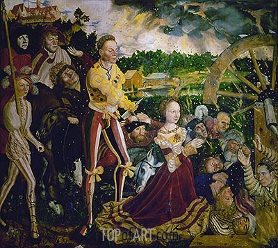 The Martyrdom of Saint Catherine (St. Catherine Altarpiece - Center Panel), 1506 | Lucas Cranach| Painting Reproduction