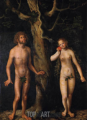 Adam and Eve, undated | Lucas Cranach| Painting Reproduction