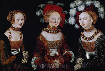 The Princesses Sibylla, Emilia and Sidonia of Saxony, c.1535 | Lucas Cranach | Painting Reproduction