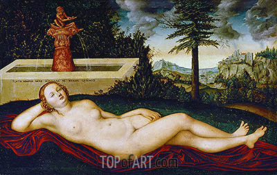 Reclining Water Nymph, undated | Lucas Cranach| Painting Reproduction