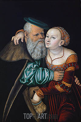 The Uneven Couple (The Old Lover), 1531 | Lucas Cranach| Painting Reproduction