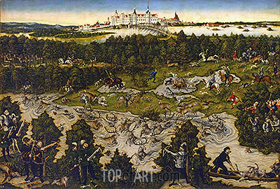 Hunt in Honour of Carlos V at the Castle of Torgau, undated | Lucas Cranach | Painting Reproduction