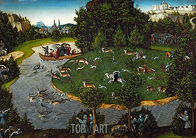 Stag Hunt of Elector Friedrich der Weise of Saxony, Emperor Maximilian I and Elector Johann der Bestaendige, 1529 | Lucas Cranach| Painting Reproduction