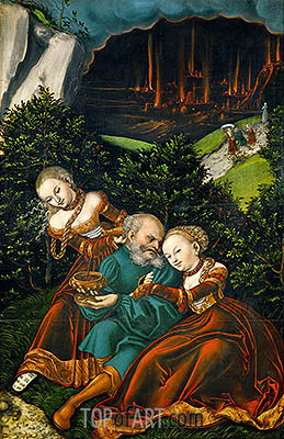 Lot and His Daughters, 1528 | Lucas Cranach | Painting Reproduction