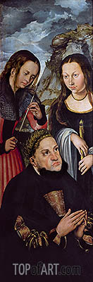 Frederick the Wise with St Ursula and St Genevieve, c.1510/12 | Lucas Cranach| Gemälde Reproduktion